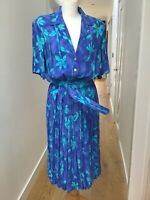 Vintage 1980's Mandy Marsh  Pleated Tea Dress size UK 12-14 Belted Blue/green