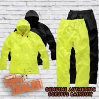 5cefddfba3 Mens Scruffs Waterproof Rainsuit Jacket Trousers Black OR Yellow Workwear  Hi-Vis