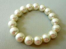 Stretch Glasperlen Armband weiß elfenbein creme 12mm Kugel 2601
