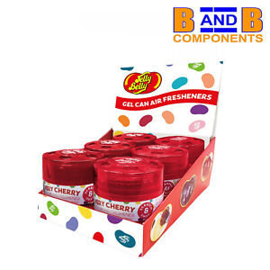 Jelly Belly VERY CHERRY GEL CAN DISPLAY PACK OF 6 Car Air Fresheners A1695
