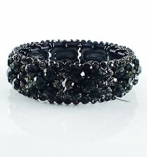 USA Bracelet Rhinestone Crystal Adjustable Bangle Wedding Party Vintage Black