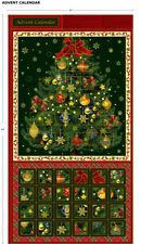Christmas Tree Advent Calendar 100% Cotton Quilting Panel Fabric