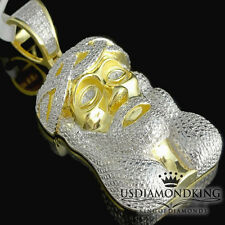 "Real Diamond Jesus Cross Charm Pendant 1.75"" Solid Yellow Gold Plated Genuine"