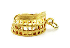 18K Yellow Gold Colosseum Charm Necklace Pendant ~ 8.7