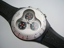 SIDE EFFECT! Swatch IRONY CHRONO with Silicone Band, Glow Dial Hands! NIB-RARE!