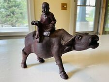 New listing Vintage Chinese Carved Wood Resin Statue Ox Water Buffalo Boy Reading 10�