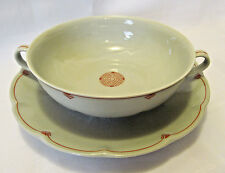 Haviland France Suzanne Lalique Celadon Art Deco RARE Cream Soup Set REDUCED