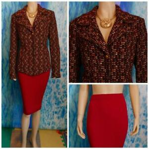 ST JOHN Collection Red Black Jacket Skirt L 10 12 2pc Suit Button Collar Shimmer