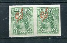Liberia 1906 Sc O43 Mint Pair Error IMPERF a great rarity very few exist  7570