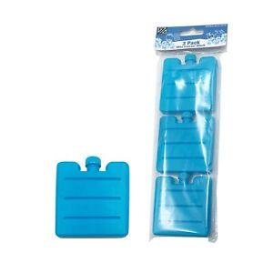 3 Pack Mini Ice Bricks Blocks Freezer Cooler Bag Lunch Box Travel Picnic