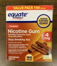 Equate Coated Nicotine Polacrilex Gum, 4 mg, Cinnamon 160 PC NEW SEALED EXP 6-22