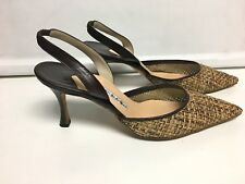 MANOLO BLAHNIK  Brown/Beige Woven Pointed Toe Slingback Pumps Size 11.5 B4433