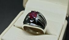 Natural Pigeon Red Afghan Ruby Sterling Silver 925 Handmade Yaqoot Mens Ring