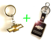 2 x CHEVROLET CHEVY Gold Stainless Steel Key Chain and Black Leather Keychain
