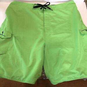 Ron Jon Surf Shop Board Shorts Swim Trunks Green Mens 40 Beach Summer
