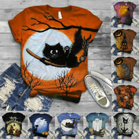 Women Short Sleeve Halloween Cat Printed O-Neck Tops Tee T-Shirt Blouse UK 8-18