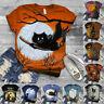 Women Short Sleeve Halloween Cat Printed O-Neck Tops Tee T-Shirt Blouse UK 8-18