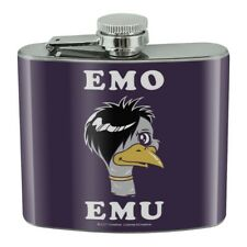 Emo Emu Funny Humor Stainless Steel 5oz Hip Drink Kidney Flask