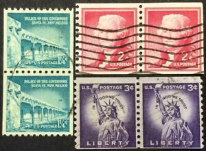 Three Liberty Series Coil Pairs, Scott #1054A, 1055 & 1057, Used, F-VF