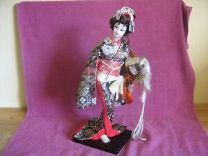 Vintage GoFun Japanese Doll - Geisha in Black Kimono Holding Samurai Hat - 39 cm