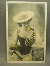Antique Early 1900's Pin Up Girl Art Nouveau Stebbing Paris Colorized Postcard