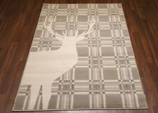 TOP QUALITY STAG CHECKS WOVEN RUG CREAM/GREY 120X170CM APP 6X4FT BEST AROUND NEW
