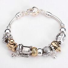 New Fashion European Murano Glass Bead&Silver Women Charm Bracelet TA51+Gift Box