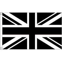 Union Jack Black & White Large Flag 8Ft X 5Ft Football Sports Banner - 2 Eyelets