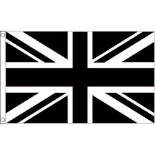 Union Jack Black & White Large Flag 8Ft X 5Ft Football Sports Banner - 2 Eyelets