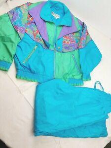 Vintage GIACCA Sport Women's Size M Blue green Multi Windbreaker Tracksuit