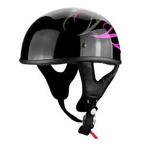 Low-Profile Motorcycle Black Gloss Half Face Helmet w/ Pink Tribal Design