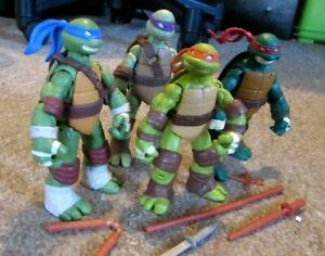 "4x Teenage Mutant Ninja Turtles Figuren von 2012 Nickelodeon Playmates TMNT 4,5"""