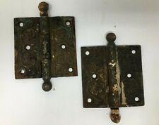 Pair of Antique Cast Ornate Victorian Eastlake Door Hinges