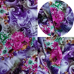 Printed,Viscose,Dress Fabric, Skirts Blouse, New Design Magical Violet
