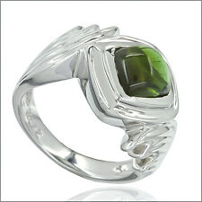 3.0 ct Green Tourmaline Cabochon In Sterling Silver Ring #91047