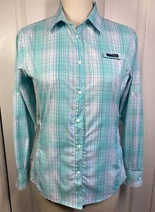 Columbia White & Turq Plaid PFG Tamiami Omni-Shade Long Sleeve Snaps Shirt MED