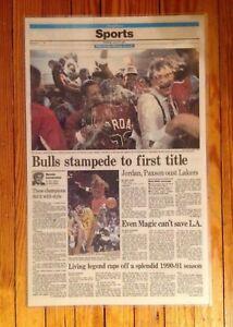 Chicago Tribune  Newspaper June 13, 1991 Bulls 1st Championship Laminated Mint