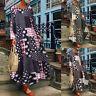 ZANZEA Damen Rundhals Langarm Kleid Maxikleid Floral Print Retro Lose Kaftan