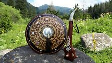 shield and mace, natural materials, leather, horn, bone, horse hair