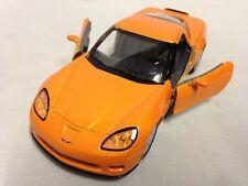 """2007 Chevrolet Corvette Z06 DieCast 5"""" Pull Back 1:36 Scale Kinsmart Toys Orange"""