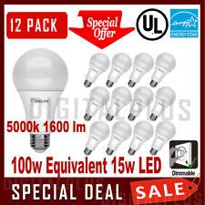 12 100W Equivalent 15W LED Light Bulb Daylight 5000K A19 E26 Base Dimmable 1600L