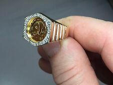 24K CHINESE PANDA BEAR COIN SET IN 14K SOLID GOLD COIN RING with .50 TCW
