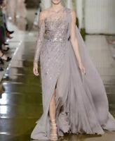 Side Split Long Sleeve One Shoulder Sequined Formal Evening Dresses Gowns Prom