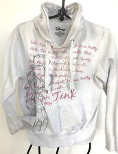 Disney white pink cotton hoodie pull string kangaroo pocket girls L Tinker Bell