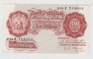 B271 L.K. O'BRIEN 10 SHILLINGS U01Y BANKNOTE IN NEAR MINT CONDITION.