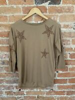 NEXT WOMENS BROWN ANIMAL PRINT STAR TOP SIZE: 8 BNWT RRP £16