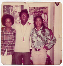 Square Vintage 70s PHOTO Young African American Gals & Guy In Home Pics On Wall