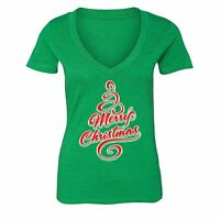 Merry Christmas Tree - UGLY CHRISTMAS Shirt Party Women Vneck T-shirt Green