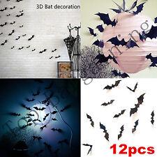 Decoración de Halloween 3D hágalo usted mismo Negro Bat Pegatinas de Pared Arte Calcomanía Mural 12 piezas