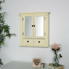 Cream wood mirrored bathroom cabinet shelving storage display wall mounted decor